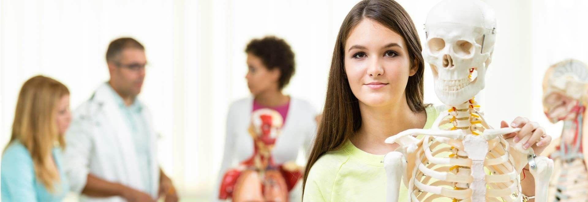 Eine junge Dame hält das Modell eines menschlichen Skeletts